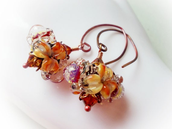 Glass Flower dangle earrings for women, artist lampwork beads fuchsia red and orange black astral pink crystals handmade copper floral