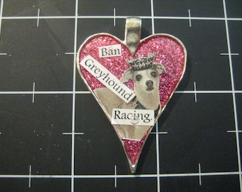Greyhound Queen Pendant, Ban Greyhound Racing, 50% goes to GREY2K