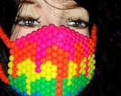 Melting Rainbow Kandi Mask, Plur Rave, Neon Kandi Surgical Mask