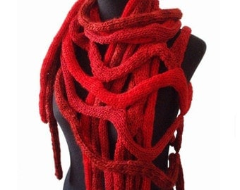 COBWEBS - hand knitting shawl scarf poncho - in red - Made to order in a month!