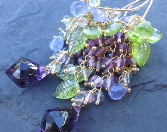 Beaded gemstone earrings in 14k gold fill - purple amethyst wisteria flowers - peridot leaves - periwinkle tanzanite - long chandelier