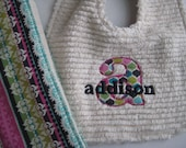 Personalized Name Intial Boutique Bib and Burp Cloth Set