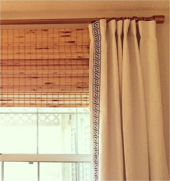 Lined Linen Drapes: Custom Lined Linen Drapes With Greek Key Trim Pick Any Linen