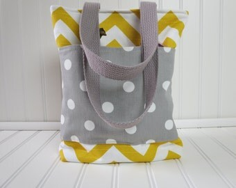 Lunch Bag,  Insulated Lunch Tote, Mini Tote, Lunch Tote, Waterproof Lining - Yellow Chevron Gray Dot Pockets - Yellow Mini Tote