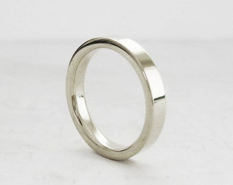 3mm White Gold Comfort Fit band | Women's or Men's white gold wedding ring| 14k 18k white gold ring | recycled gold | ethical wedding band