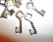14 Pieces Skeleton Key Charm Pendant Silver Tone For Jewelry Supplies Findings 20mm