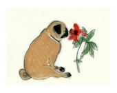 """Pug Art Zen Pug - Pug Wall Art - Pug dog Art print - Pug Artwork  6"""" X 4"""" print - 4 for 3 SALE"""