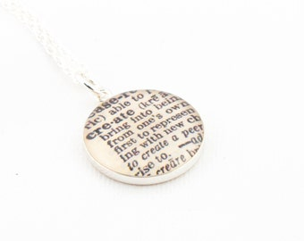 Sterling Silver Definition of CREATE Pendant and Necklace - Vintage Dictionary