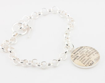 Sterling Silver toggle bracelet with definition of Faith