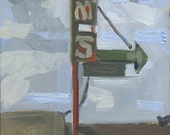 Kim's Restaurant Sign: Original Oil Painting Urban Plein Air Landscape