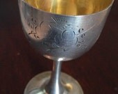 Chinese Export Gilded Sterling Silver Cordial Cup