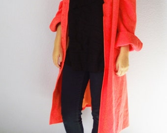 Vintage Wool Trench Coat - Women's Coral Orange Duster - 1960s - 3/4 Length Sleeves