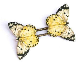 Whisper Butterfly Bobby Pins - Yellow Butterfly Bobby Pins - Yellow - Butterfly Jewelry - Moth Jewelry - Moth - Shrink Plastic Jewelry -