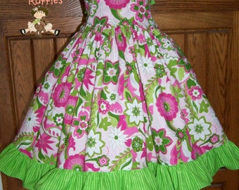 Molly Ruffled Sundress Pink and Green fabric