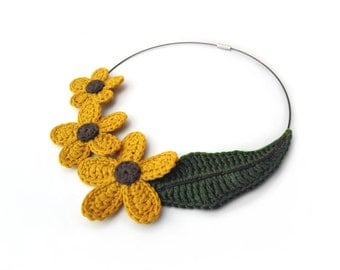 MADE TO ORDER - Crochet flower necklace,fiber necklace,cotton necklace,yellow,mustard,nature inspired,ecofriendly