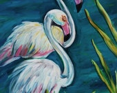 Pink Flamingos - Camargue, France - Original Acrylic Painting - 11 x 14