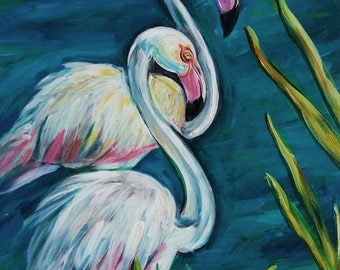 Original art - Wall Art  - Pink Flamingos - France Art - Camargue, France - Original Acrylic Painting - Leah Reynolds