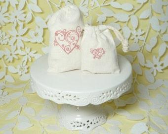 heart stamped bag muslin wedding favor handstamped