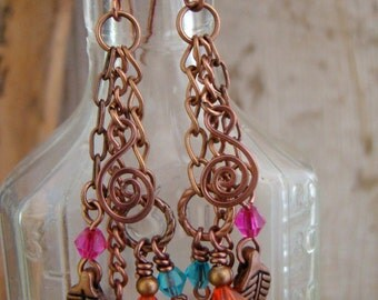 Gypsy Boho Dangle Crystal Charm Earrings Wire Wrapped Antique Copper             1.99 SHIPPING USA