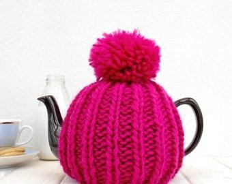 Tea Pot Cosy, 6 Cup Knitted Retro Tea Cozy, Pom Pom Tea Cosy, Wool Tea Cozy, Teapot Cosy, Tea Gift, Afternoon Tea Cosy, Housewarming Gift