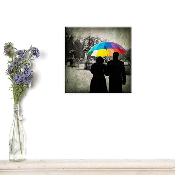 canvas print, Canvas Gallery Wrap, Wall Art, Rainbow umbrella, Parisian decor, Paris photography, Umbrella print, Winter photography