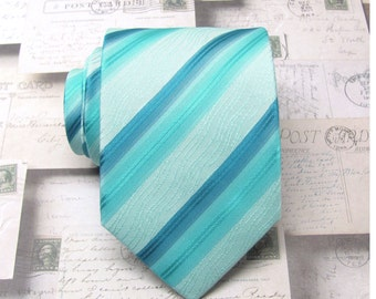 Mens Tie Mint and Turquoise Stripes Necktie