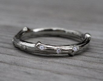 Scattered Diamond Twig Wedding Band: Recycled Gold, 2mm, Canadian Diamonds