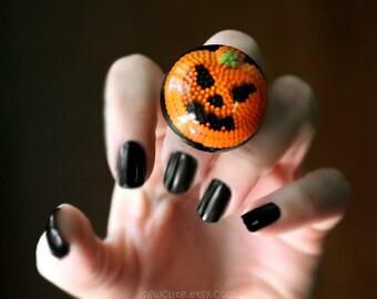 Halloween Jewelry, Ring, Jack O' Lantern, Pumpkin Orange, Big Shiny Orange Black Spooky Halloween Ring, Handmade Halloween  by isewcute