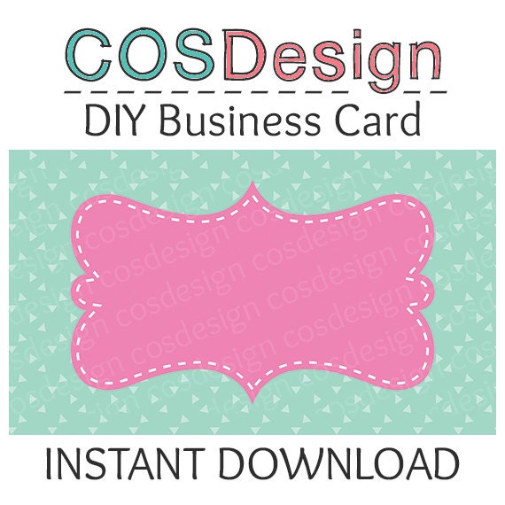 INSTANT DOWNLOAD DIY Blank Business Card Template by cosdesign