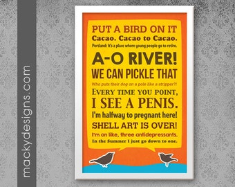 Portlandia Quotes - Two little birdies - Typographic Poster Print - 11x17""