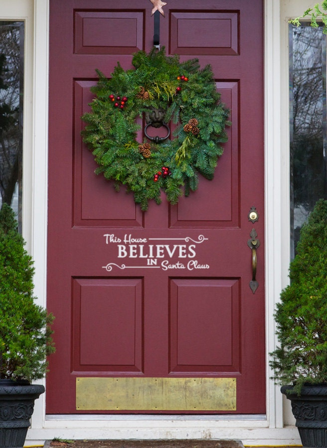 Santa Decal Christmas Front Door Decal This House Believes