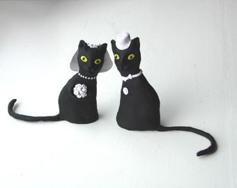 Black Cats Wedding Cake Topper, Made to Order