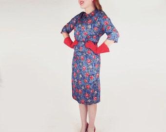 SALE 50s Blue Sheath Dress with Orange-Red Flowers M L