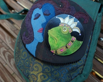The Frog Prince And Sleeping Beauty Large Tapestry Textile Art Hand Painted Big Messenger Bag