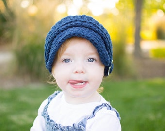 5 Sizes Navy Blue Newsboy Cap Baby Newsboy Hat Toddler Newsboy Girls Newsboy Boys Newsboy Womens Newsboy Crochet Newsboy Navy Newsboy