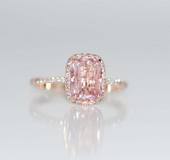 Padparadscha Sapphire Ring 14k Rose Gold Diamond 1 9ct Cushion