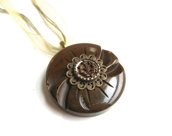 Flower Button Necklace Brown Bakelite Swirls
