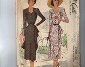 1940s Vintage Sewing Pattern McCall 7300 Plus Size Day Dress with Side Draped Skirt Size 42 Bust 42 1940s 1948