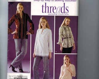 Misses Sewing Pattern Simplicity 4017 Misses and Misses Petite Tunic Top Trim Variations Size 14 16 18 20 22 Bust 36 38 40 42 44 UNCUT  99