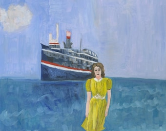 Betty's ship was about to come in. Original oil painting by Vivienne Strauss.
