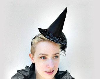 Halloween Costume, Witch Hat, Mini, Sexy Witch Costume, Black Satin, Red Swarovski Crystal, Feather Fascinator, Batcakes Couture