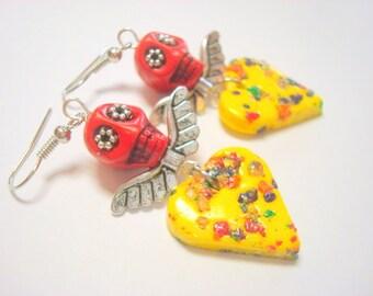 Red Sugar Skull Dia De Los Muertos Flower Eyes Angel Wings Hearts Earrings