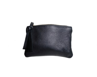 Simple black leather pouch