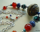 Necklace, Desert Song, Huge Ethnic Focal, Organic Gemstones, Natural Rugged Lapis and Turquoise, Carnelian,  Hematite, All Sterling Silver