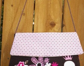 Sweet Pink Girlie Skulls Evening Bag with Brown Satin Cord Strap