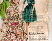 Vintage 60's Sewing Pattern, ShirtWaist Dress and Scarf, Size 12