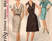 Vintage 60's Sewing Pattern, Misses V-Neckline Dress, Two Collar Styles, Size 12 1/2 Bust 33