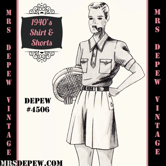 Men's Vintage Reproduction Sewing Patterns  1940s Mens Shirt and Shorts in Any Size Depew 4506 - Plus Size Included -INSTANT DOWNLOAD-  AT vintagedancer.com
