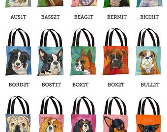 Dog Breed Canvas Tote Bag from original artwork, 18x18