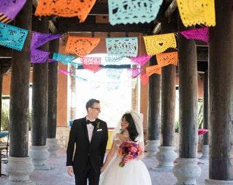 SALE - Fiesta Wedding Garland Banner AMOR VARIETY Papel Picado Wedding Flags - Mexican Hand Cut Tissue Paper Flags